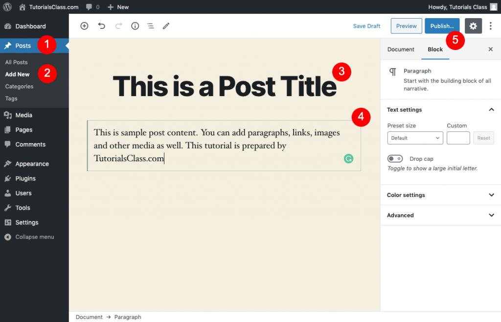 WordPress Posts Tutorial