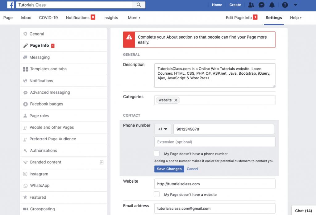 Facebook - Edit page info
